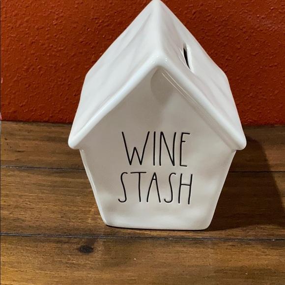 """Rae Dunn """"Wine Stash"""" bank."""